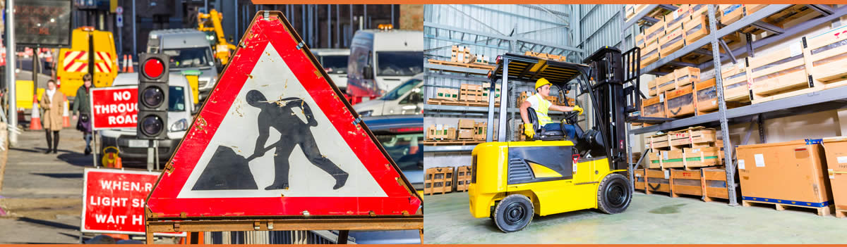 Streetworks and forklift truck